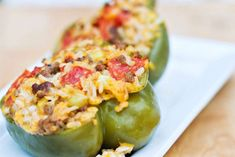 Easy Crockpot Stuffed Bell Peppers- making 2/2/2014 :-) for Kortni  I. I used 3 green peppers and 3 colored peppers and they were yummy :-) *They were done on low in crockpot for 5 hrs.