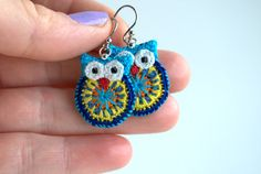 Owl earrings crochet owl earrings