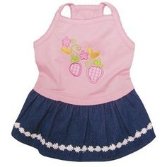 Klippo Pet Adorable Dog Sundress with Embroidered Strawberries and Denim Skirt