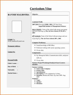 resume format vfx freshers pinterest resume format template and pdf