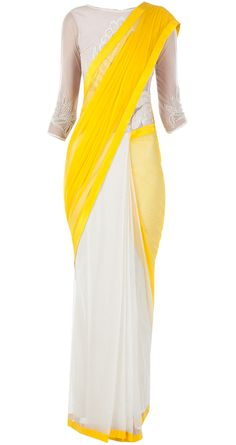 Yellow and ivory sari gown by VARUN BAHL. http://www.perniaspopupshop.com/designers-1/varun-bahl