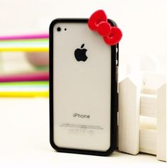 Cute Bowknot Bumper Frame Skin Case Cover for iPhone 4 4G 4S (Black)