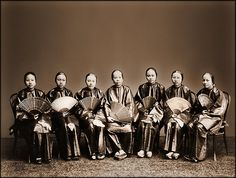 Group Of Chinese Women With Fans, Canton, China [c1880] Afong Lai [RESTORED]
