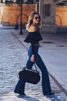 Off the shoulder, flare jeans, oh my!!