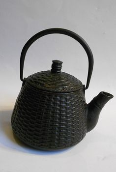 cast iron basket weave tea kettle