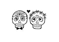 Wedding Bride and Groom Sugar skull rubber stamp bride groom.