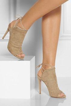Aquazzura Neutral Suede 'Mayfair' Sandals