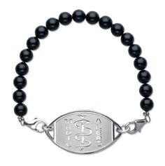 """MedicAlert® Black Pearl Sterling Silver Medical ID Bracelet made from Swarovski Elements """"Diabetes Type2"""" for only $90.00 You save: $10.00 (10%)"""