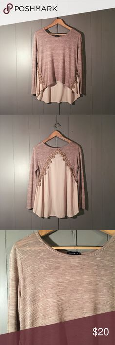 Mocha Lace Embellished High Low Nordstrom Top Chic Boho meets romantic in this gorgeous and unique top! Flowy and loose fit. Little to no signs of wash and wear. Excellent condition. Offers are welcome. Basil Lola Tops