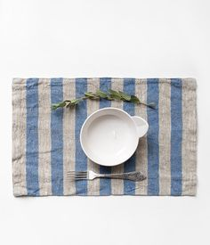 Rustic Placemat With Wide Blue Stripes by LinenTales on Etsy
