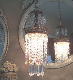 In my powder room . Would be beautiful/Jeweled Vintage Crown Waterfall Chandelier Pendant Chandelier, Vintage Chandelier, Chandelier Lighting, Porch Lighting, Home Lighting, Shabby Chic Lighting, Chandeliers, Hanging Crystals, Shabby Chic Pink