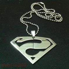 new Superman Symbol Mens Stainless Steel Necklace silver Pendant  CAL211