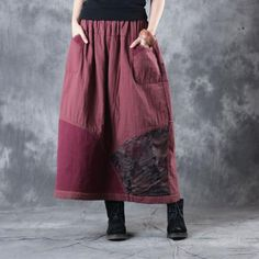 Best-Selling Rose Prints Cotton Linen Maxi Skirt Womans Quilted Skirt    #skirt #vintage #rose #over50 #quilted #maxi #flare #fashion