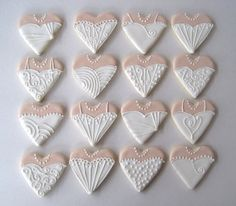 "bridal dress heart cookies (3½ x4"" hearts) Flickr - Photo Sharing!"