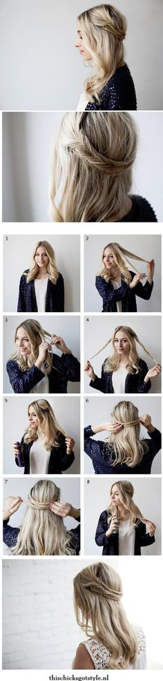 Fishtail Braided Headband Tutorial. Click the pic for 40 easy hair tutorials and another 20 hair tutorials for Summer