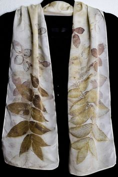 Eco print with leaves from a Butternut tree and rose leaves, natural dyes, silk scarf