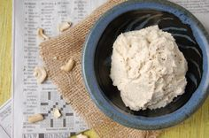 Cashew cheese. Soak cashews overnight. Rinse. Add lemon juice, salt & pepper and pulse. Add water until creamy. Add flavour (garlic, sundried tomatoes, herbs, spices). Mix.