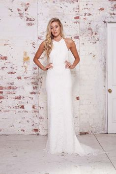 Perfect dress for the sporty bride. Ivory high halter neck-bias gown with lace overlay by Karen Willis Holmes // Best of Bridal Week 2016 - Part 1