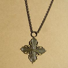 Vintage Modernist Kalevala Koru Bronze Cross by GraciousGood