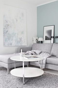 25 Pastel Accent Walls that Will Inspire You to Paint /stylecaster/   Love the cool gray and pastel blue vibe