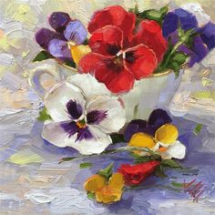 "Daily Paintworks - ""Cup of Joy"" - Original Fine Art for Sale - © Krista Eaton"
