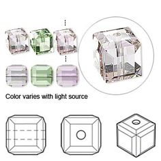 Bead, Swarovski crystal, cantaloupe, 6x6mm faceted cube (5601). Sold per pkg of 6.