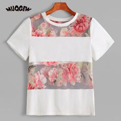 Trendy Women Summer tshirt Sexy Perspective Short Sleeve Flower Print T-shirt Tops Blusa harajuku vetement femme camisetas mujer Item specifics Season:Spring,Summer Material:Cotton blended Package Women Blouse Sewing Clothes, Diy Clothes, Cream T Shirts, Shirt Blouses, Chiffon Blouses, Blouse Designs, Dame, Fashion Outfits, Fashion Women