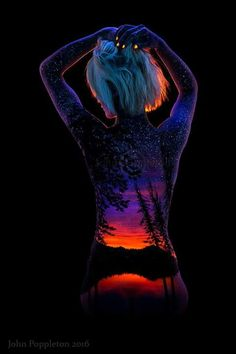 To life with black light paint female body paintings, female art, light art, Female Body Paintings, Female Art, Body Art Photography, Video Photography, Back Painting, Light Painting, Anatomy Sketch, Tom Whalen, Girl Faces