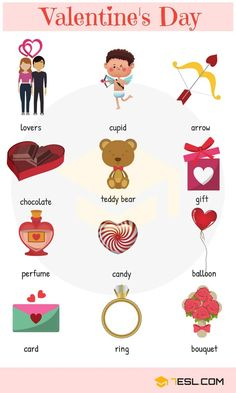 Learn Holidays and Special Events Vocabulary in English with Pictures. A holiday is a day set aside by custom or … English Verbs, English Vocabulary Words, Learn English Words, English Lessons, English Grammar, English Language Learning, Teaching English, Valentine Words, Valentines