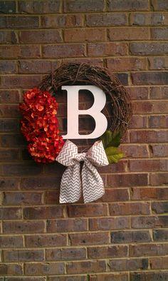 Fall Halloween Thanksgiving Wreath Orange Hydrangea by simplystunninghome, $48.00