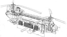 A CH-47C Chinook helicopter cutaway drawing.