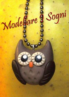 Owl Necklace  Brown and Cream  Custom Colors Available by girasole, $15.00