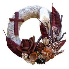 Funeral Flowers, Burlap Wreath, Ikebana, Diy And Crafts, Wreaths, Fall, Jute, Crowns, Autumn