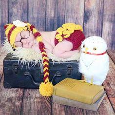 Crochet Baby Girl Harry Potter Hat Beanie Stocking Cap Flower Ruffle Diaper Cover Set Infant Newborn Photography Photo Prop Handmade Baby Shower Gift - Red Lollipop Boutique