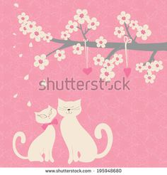 Cute vector illustration. Branch with white flowers and cats in love under the tree. Can be used for celebration postcard, wedding invitation, scrapbooking.