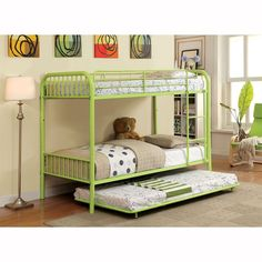Shop Furniture of America  Rainbow Metal Bunk Bed with Trundle at ATG Stores. Browse our bunk beds, all with free shipping and best price guaranteed.