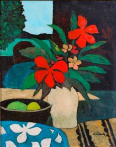 Ray Crooke (Australian, b. Love Flowers, Painted Flowers, Still Life Art, Australian Artists, Famous Artists, Flower Vases, Art Boards, Hibiscus, Vibrant Colors
