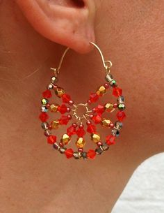 SUMMER CRYSTAL HOOP EARRINGS by krdesign on Etsy, $120.00