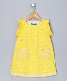 Yellow Eyelet Flutter-Sleeve Dress - Infant, Toddler & Girls