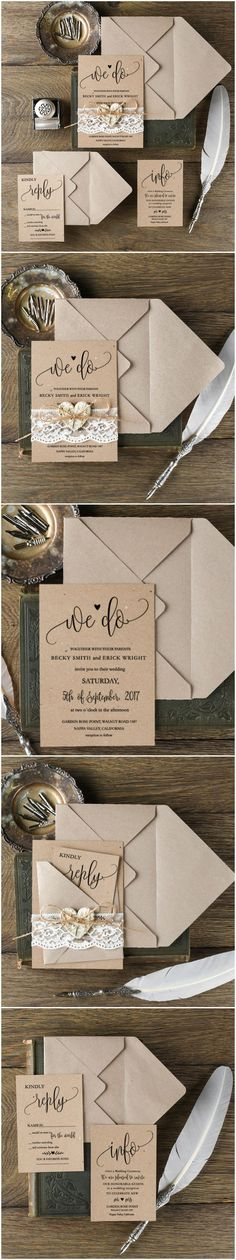 Rustic Romantic Lace Wedding Invitations - We Do #rusticwedding #countrywedding