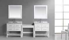 Shop for Design Element London Make-up Table and Single-sink Vanity Set. Get free delivery On EVERYTHING* Overstock - Your Online Furniture Outlet Store! Single Sink Vanity, Bathroom Sink Vanity, Master Bathroom, Modern Bathroom, Bathroom Ideas, Free Standing Vanity, Solid Wood Cabinets, Marble Vanity Tops, Modern Vanity