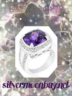 Gorgeous Cushion Cut Amethyst Ring at www.silvermoonbay.net