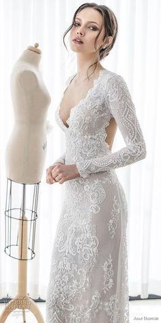 asaf dadush 2017 bridal long sleeves deep v sweetheart neckline full embellishment sexy elegant sheath wedding dress keyhole back sweep train (06) mv