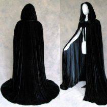 Lined Black Velvet Cloak - Medieval Renaissance