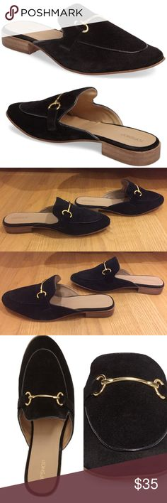 BNWOB topshop Alexa slip on mule size 7/7.5 BNWOB TOPSHOP Alexa slip on Mules. Perfect condition. Never worn. Selling b/c I'm generally a 38 and the sizing said to go up 1 size, so I ordered a 39 and they just fit. These shoes will be perfect on anyone who is a 7/7.5 - 37.  This black suede loafer style features brass metal detailing and is an easy addition to any look.On the Ⓜ️app w/free shipping. Use this code JAGHZA for $2 off your first purchase. Topshop Shoes Mules & Clogs