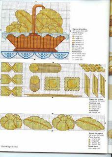 Fabinha Gráficos Para Bordados: Pão, Trigo, Uva e Vinho Santa's Village, Pain, Cross Stitching, Cross Stitch Patterns, Kids Rugs, Embroidery, Biscotti, Cooking, Cross Stitch Designs