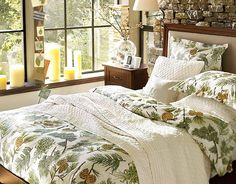 Bedroom: Wonderful Bedrooms in Christmas Decorating Themes, Natural Bedroom Nuance for The Holidays with Pine Cone and Needles Bed Covers and Throw Pillows Motives also Twigs Decorations in Glass Vase and Rustic Stone Wall Decor