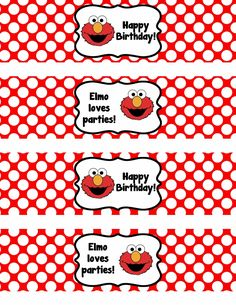 Another birthday party I am working on right now is for my neighbor's grandbabies. They are turning two and having an Elmo-themed party. I made them some custom water bottle labels for the … Monster Birthday Parties, Elmo Party, Elmo Birthday, 3rd Birthday Parties, Happy Birthday, Mickey Party, Kid Parties, Dinosaur Party, Dinosaur Birthday