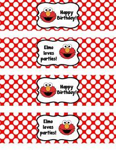 Binge Crafter: FREE printable Elmo birthday water bottle labels.
