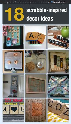 18 scrabble-inspired decor ideas ~ perfect for personalizing your surroundings. Scrabble Letter Crafts, Scrabble Tile Crafts, Scrabble Art, Diy Letters, Scrabble Coasters, Diy Arts And Crafts, Cute Crafts, Crafts To Do, Game Pieces